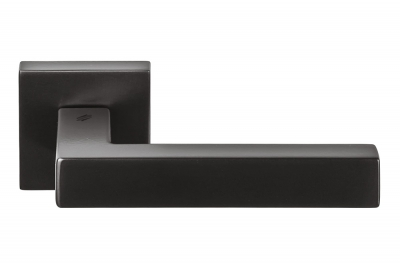 Ellesse Matt Graphite Door Handle on Rosette With Opaque Black Finish by Colombo Design