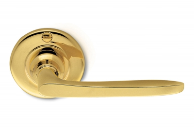 Firenze Natural Brass Door Handle on Rosette of Italian Traditional Architecture by Antologhia