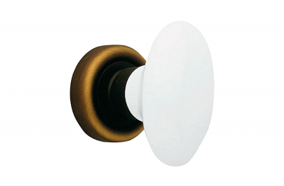 Flavia 685 RO 102 BM Door Knob by Linea Calì Matt Bronze with White Porcelain Handle