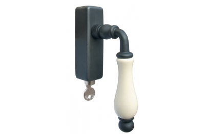 Galbusera Lockable Dry Keep Window Handle Porcelain and Wrought Iron