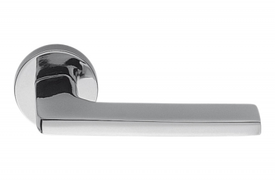 Gira Polished Chrome Door Handle on Rosette Ideal for Architect by Colombo Design