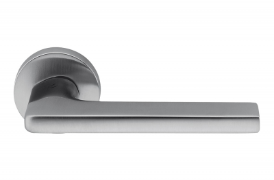 Gira Satin Chrome Door Handle on Rosette by Designer Jasper Morrison for Colombo Design