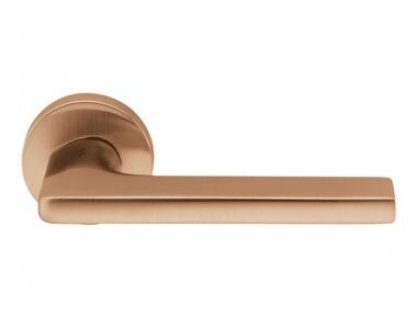 Gira Matt Vintage Brass Door Handle on Rosette by Colombo Design