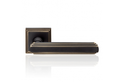 Glamor Matt Bronze Door Handle With Rose With Rationalist Design XX Century Linea Calì Vintage