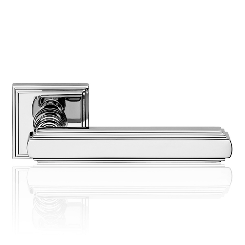 Glamor Polished Chrome Door Handle With Rose With Rationalist Design XX Century Linea Calì Vintage