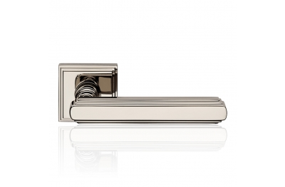Glamor Polished Nickel Door Handle With Rose With Rationalist Design XX Century Linea Calì Vintage