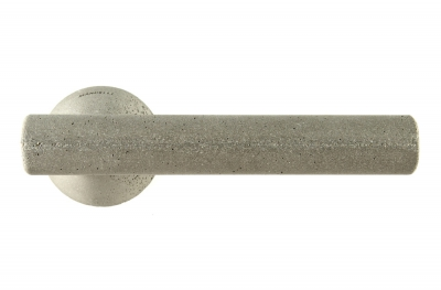 Juno Cement Door Handle on Rosette Color Taupe by Designer Alessandro Dubini for Mandelli