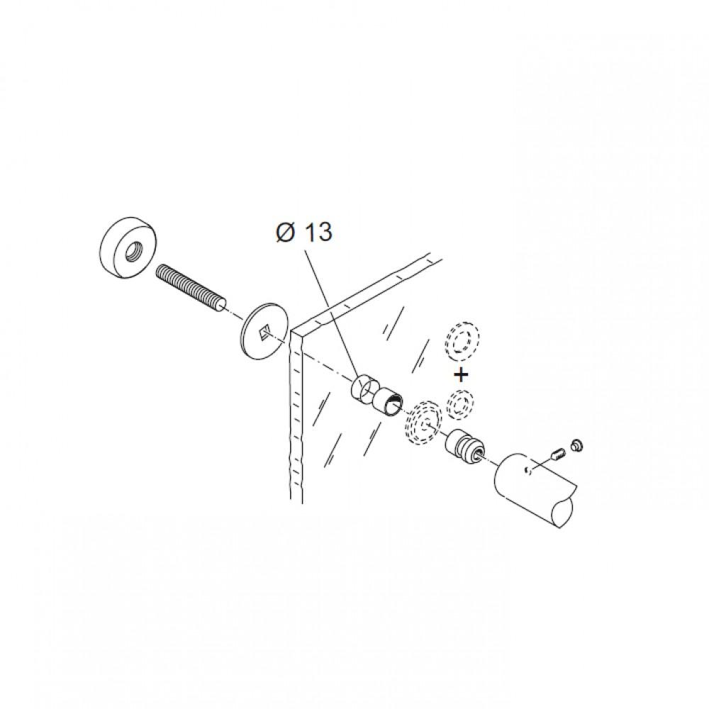 Through Fixing Kit pba 02 for Single Pull Handles for Glass Doors