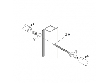 Fixing Kit pba 710 for Pair of Pull Handles for Aluminium Iron and Wooden Doors