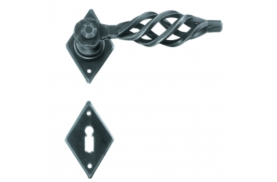 Square London Galbusera Door Handle with Rosette and Escutcheon Plate