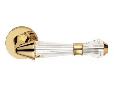 Luce Gold Plated Door Handle on Rosette Linea Calì Crystal