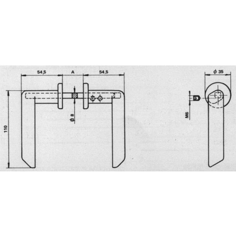 Handle Ibiza Spes. 20-45mm Savio for Doors gates and Gates Iron