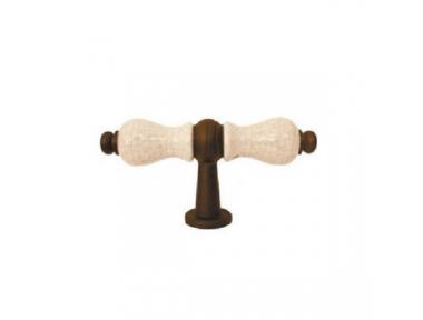 "Furniture Handle Galbusera 5-70+D6 Handmade Artistic Iron ""Bavaria"" Porcelain"
