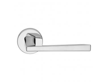 Mercury Series Fashion forme Door Handle on Round Rosette Frosio Bortolo Polished Chrome