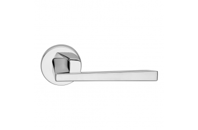 Mercury Series Fashion forme Door Handle on Round Rosette Frosio Bortolo Polished Chrome