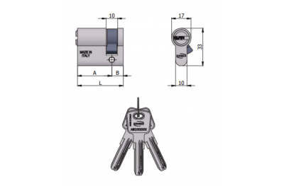 Omec Shaped Half Cylinder 6 Pins L 60mm 30/30