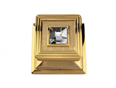 Opera Crystal 1056 PT Door Knob Gold Plated by Linea Calì with Swarowski Crystal