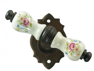 Paris Galbusera Window Handle with Rosette Porcelain and Wrought Iron