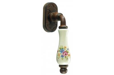 Paris Galbusera Dry Keep Window Handle Porcelain and Wrought Iron