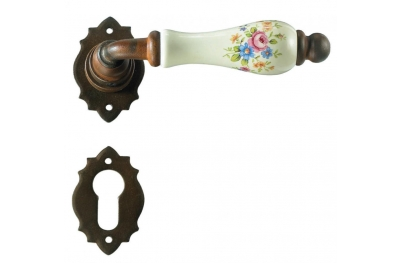 Paris Galbusera Door Handle with Rosette and Escutcheon Plate
