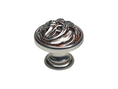 Classic Cabinet Knob Linea Calì Vintage PB with French Silver Finishing