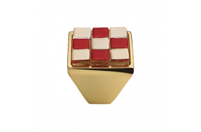 Cabinet Knob Linea Calì Crystal Brera Chess PB 28 OZ White Red Glass Insert