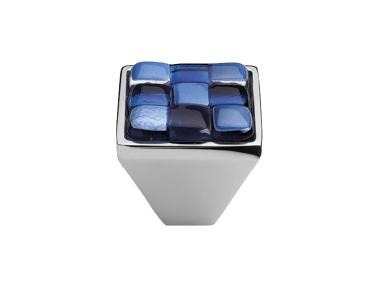 Cabinet Knob Linea Calì Crystal Brera Chess PB 30 CR White Blue Glass Insert