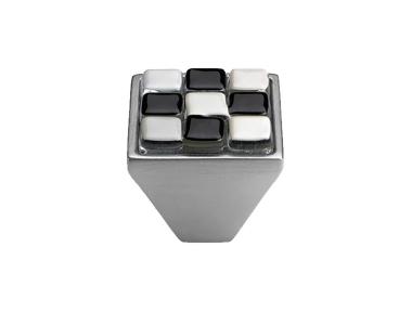 Cabinet Knob Linea Calì Crystal Brera Chess PB 29 CS White Black Glass Insert
