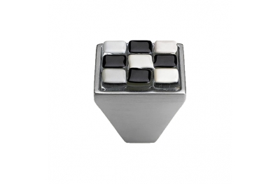 Cabinet Knob Linea Calì Crystal Brera Chess PB 29 CS White Black Glass Insert