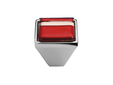 Cabinet Knob Linea Calì Crystal Brera Linear PB 21 CR Red Glass Insert