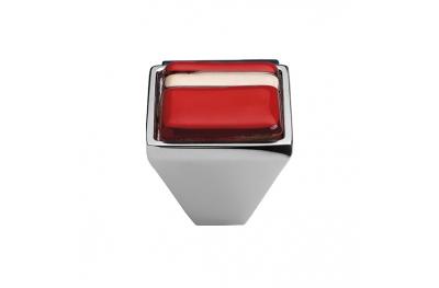 Cabinet Knob Linea Calì Crystal Brera Linear PB 21 CR Red Glass Insert