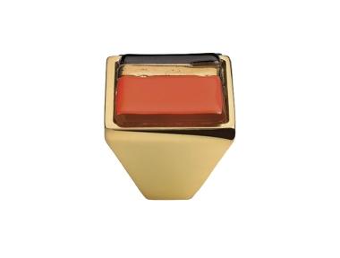 Cabinet Knob Linea Calì Crystal Brera Linear PB 23 OZ Orange Glass Insert