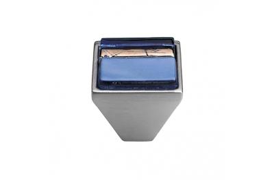 Cabinet Knob Linea Calì Crystal Brera Linear PB 32 CS Light Blue Glass Insert