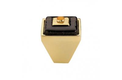 Cabinet Knob Linea Calì Crystal Brera Square PB 24 OZ Black Glass Insert