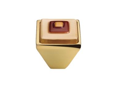 Cabinet Knob Linea Calì Crystal Brera Square PB 25 OZ Pink Red Glass Insert