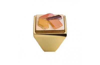 Cabinet Knob Linea Calì Crystal Brera Stone PB 33 OZ Orange Glass Insert