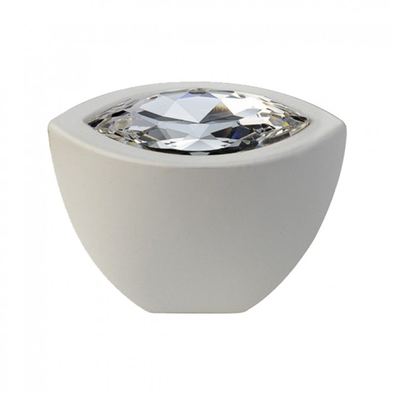 Furniture Knob Linea Calì Elipse Crystal with Swarowski® Matt White