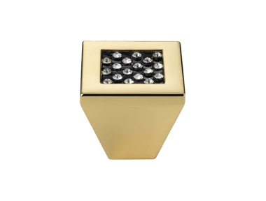 Cabinet Knob Linea Calì Mesh Crystal PB with Black Swarowski® Gold Plated