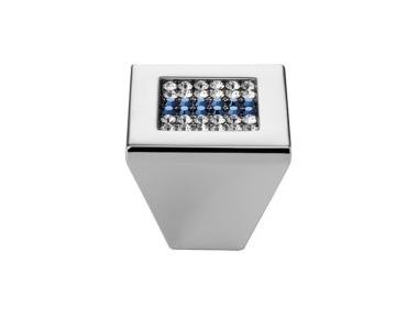 Cabinet Knob Linea Calì Mesh Crystal PB with Blue Swarowski® Polished Chrome