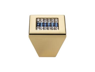Cabinet Knob Linea Calì Mesh Crystal PB with Blue Swarowski® Gold Plated