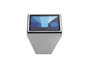 Cabinet Knob Linea Calì Mirror PB with Blue Swarowski® Polished Chrome