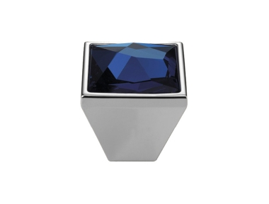 Cabinet Knob Linea Calì Pop-Art PB with Blue Swarowski® Satin Chrome
