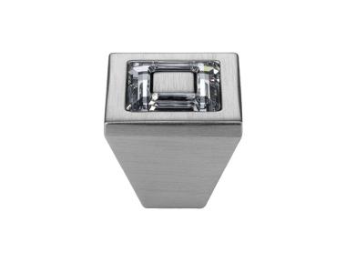 Cabinet Knob Linea Calì Ring Crystal PB with Swarowski® Satin Chrome