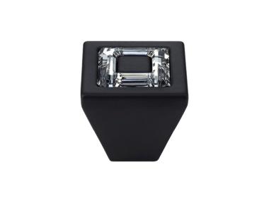 Cabinet Knob Linea Calì Ring Crystal PB with Swarowski® Matt Black