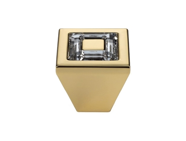 Cabinet Knob Linea Calì Ring Crystal PB with Swarowski® Gold Plated