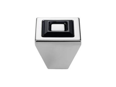 Cabinet Knob Linea Calì Ring Crystal PB with Black Jet Swarowski® Matt White