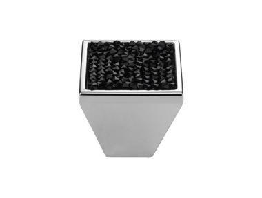 Cabinet Knob Linea Calì Rocks PB with Black Jet Swarowski® Polished Chrome