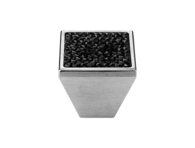 Cabinet Knob Linea Calì Rocks PB with Black Jet Swarowski® Satin Chrome