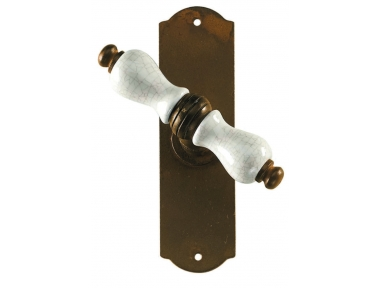 Prague Galbusera Window Handle with Plate Porcelain and Wrought Iron