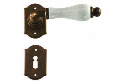 Prague Galbusera Door Handle with Rosette and Escutcheon Plate